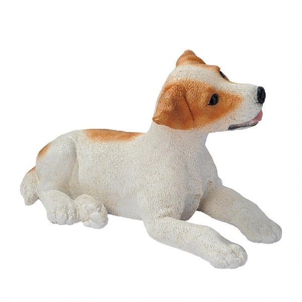 """12.5"""" Jack Russell Relaxing Brown and White Puppy Statue - N/A"""