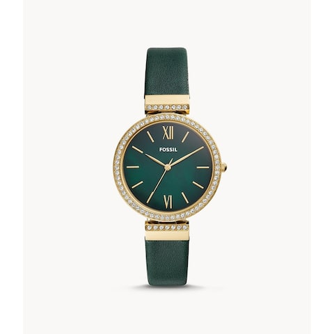 Fossil Women's Gold Diamond Bezel Dark Green Leather Watch