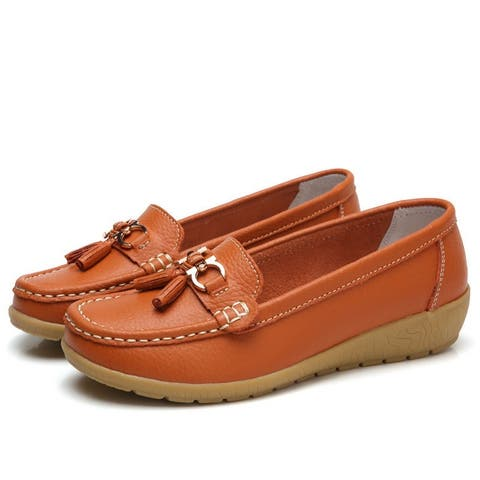 Women's Leather Shoes Comfortable Flat Soft Sole With Tendon Sole