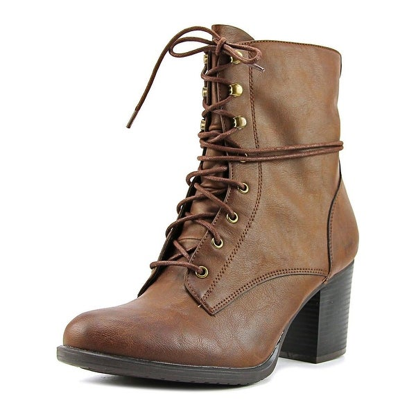 American Rag Alaina Women Round Toe Leather Brown Ankle Boot
