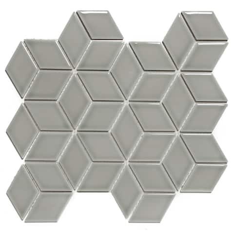 Glazed Porcelain Mosaic Tile Sheet Paris Rhombus Glossy Gray