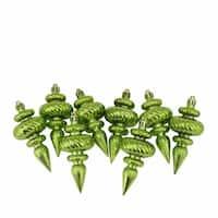 Shiny Kiwi Green Swirl Shatterproof Christmas Finial Ornaments