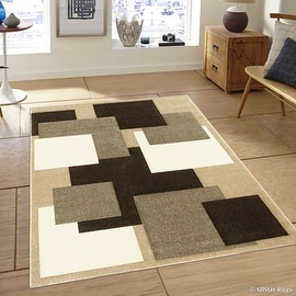"Allstar Brown / Beige Modern Geometric Brown square design Area Rug (5' 2"" x 7' 2"")"