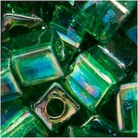 Miyuki 4mm Glass Cube Beads Transparent Emerald Green AB 179 10 Grams
