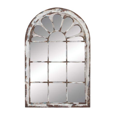 """Multi Colored Arched Window Framed Wall Mirror With Distressed Metal And Wood Finish 34"""" X 52"""" - 34 x 2 x 52"""