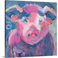 Pamela J. Wingard Premium Thick-Wrap Canvas entitled Pinky Pig