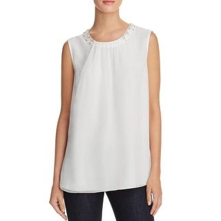 Magaschoni Womens Casual Top Silk Sequined