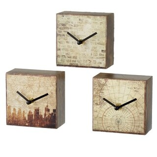 """Set of 3 Brown and Off White Urban Block Desk Clock Assortment 4"""""""