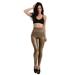 NE PEOPLE Womens High Waist Faux Leather Leggings Made in USA [NEWP47]