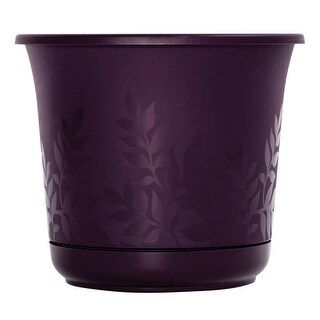 "Bloem FP0856 Freesia Etched Planter, Purple, 7.5"" H x 8.5"" Dia"