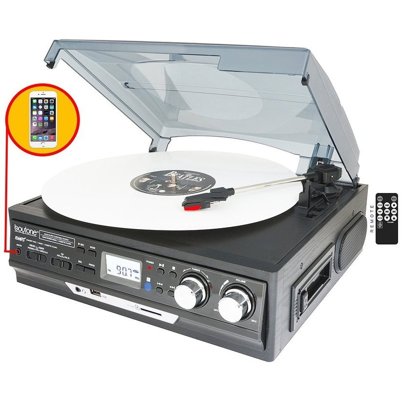 Boytone BT-17DJB-C 3-Speed Stereo Turntable with 2 Built in Speakers Digital LCD Display AM/FM Radio + Supports USB/SD/AUX+ Cass - Thumbnail 0