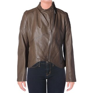 Elie Tahari Womens Celeste Motorcycle Jacket Lamb Leather Asymmetric