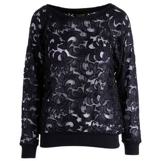 Juicy Couture Black Label Womens Corded Lace Lace Pullover Top - XS