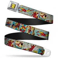 Marvel Comics Iron Man Face Full Color Red Yellow Iron Man Comic Strip Seatbelt Belt
