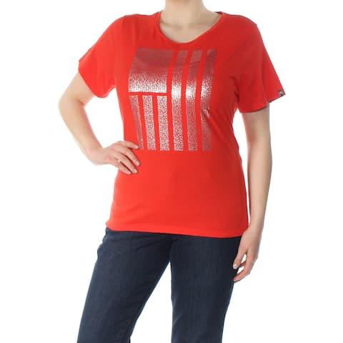 TOMMY HILFIGER Womens Orange Metallic Flag Short Sleeve Jewel Neck Top Plus Size: 1X