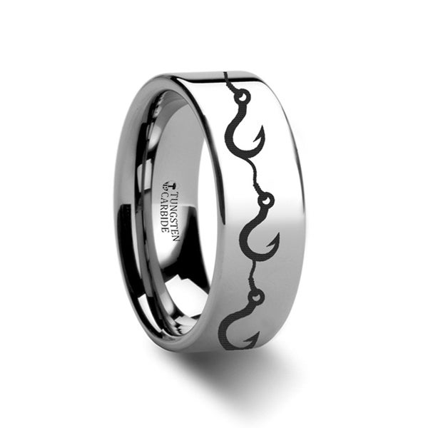 THORSTEN - Multiple Fishing Hook Pattern Ring Engraved Flat Tungsten Ring - 12mm