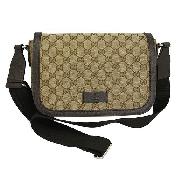 969093251 Gucci Women's Brown Canvas Leather Medium Messenger Bag 449172 9886
