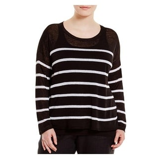 Eileen Fisher Womens Plus Crop Top Linen Striped