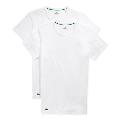 d952a150 LACOSTE Men's White Cotton Crew Neck Short Sleeve Logo Undershirt 2 Pack