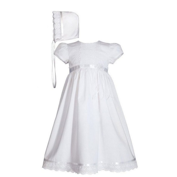 White Cotton Christening Baptism Gown with Lace Border with Bonnet