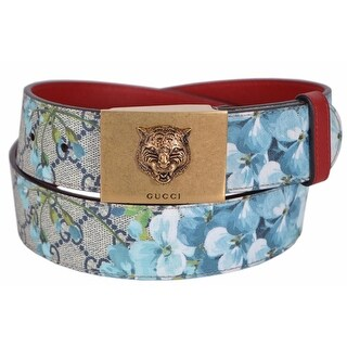 New Gucci Women's 434559 Blue GG Blooms Feline Plaque Buckle Belt 38 95