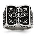 Stainless Steel Antiqued Cross Ring (10 mm) - Thumbnail 0