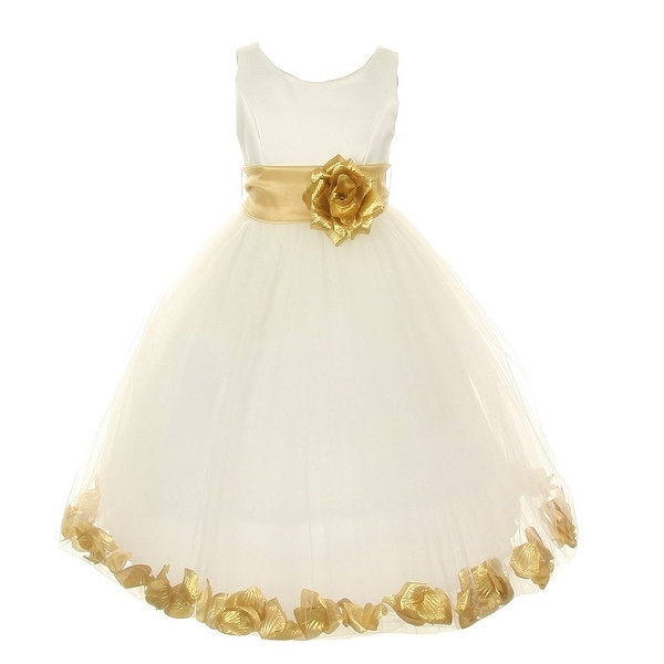 76de679e578 Shop Little Girls Ivory Gold Petal Adorned Satin Tulle Flower Girl Dress  2T-6 - Free Shipping Today - Overstock - 18168961