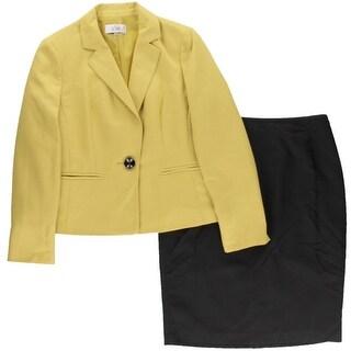 Le Suit Womens Prague Two-Tone Notch Lapel Skirt Suit
