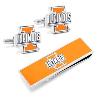 University of Illinois Fighting Illini Cufflinks, Money Clip Gift Set - Orange