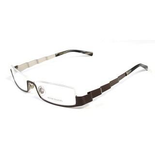 Boucheron Unisex Skinny Rectangular Eyeglasses Brown/Multi - Black - S