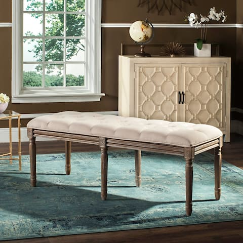 """SAFAVIEH Rocha French Brasserie Tufted Traditional Rustic Wood Beige Bench - 47.3"""" x 17.5"""" x 19"""""""