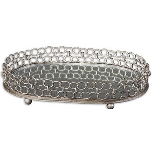 "4"" Unique, Decorative Antiqued Metal Circle Chain Linked Tray with Mirror Bottom"