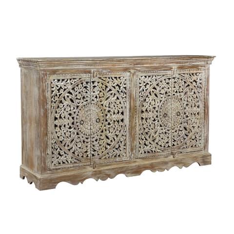 Rhu Home Carved Wooden 4-Door Sideboard