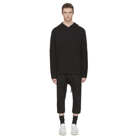 Helmut Lang Mens Waffle Stitch Combo Sweatshirt Hoodie Large L Black H05HM702