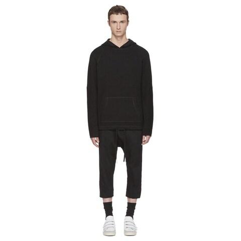 Helmut Lang Mens Waffle Stitch Combo Sweatshirt Hoodie Medium M Black