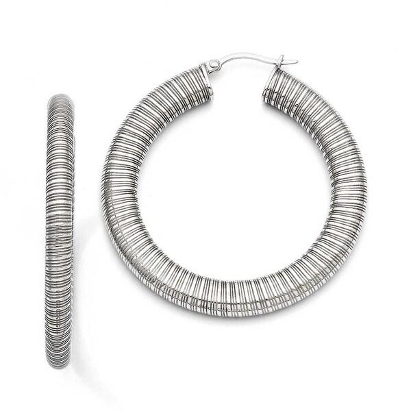 Chisel Stainless Steel Textured Hollow Hoop Earrings