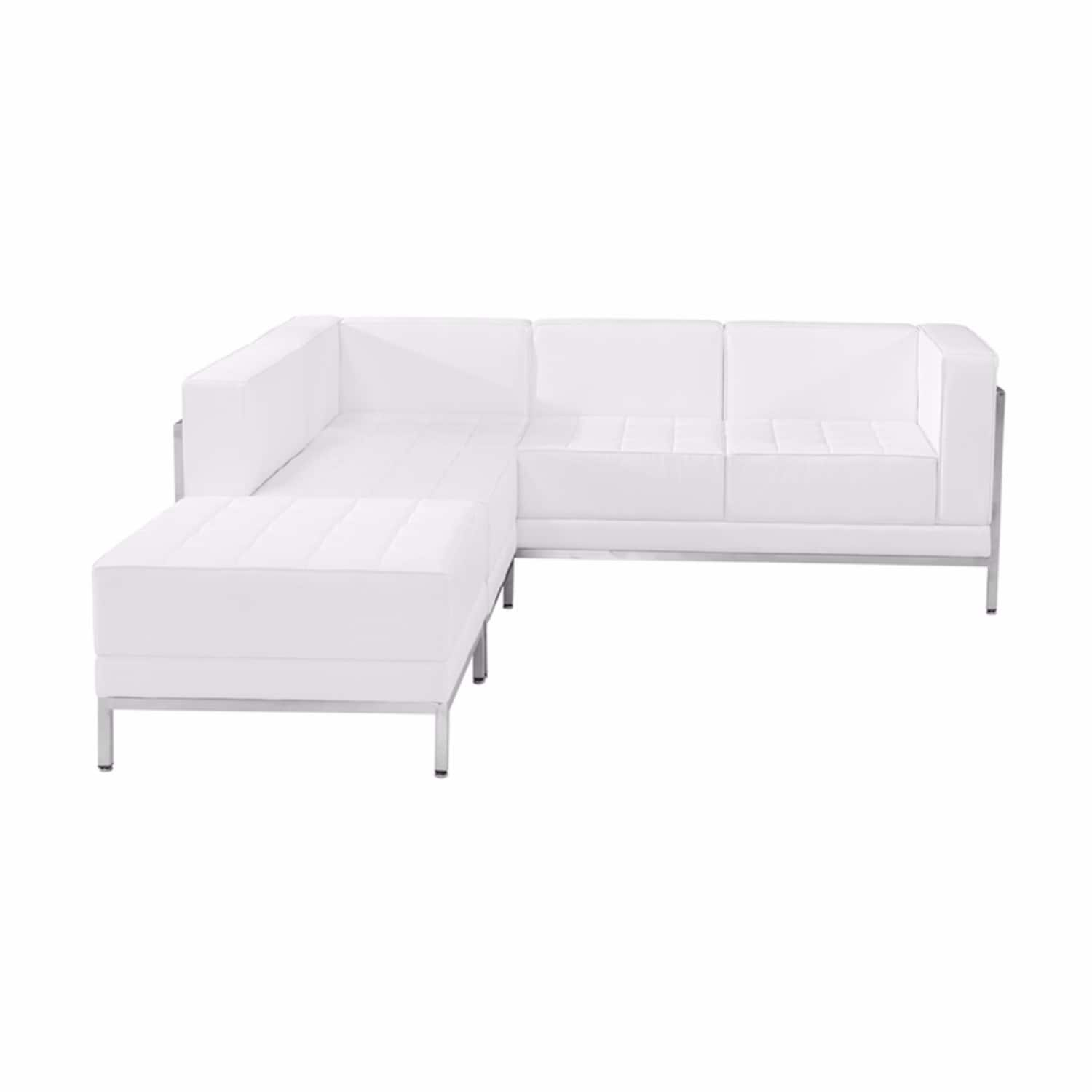 Offex 3 Piece Contemporary White Leather Reception Area Sectional Configuration Ofx 289039 Ff