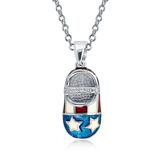 American Flag Patriotic Baby Shoe Charm Pendant Necklace Engravable