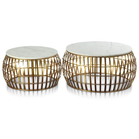 StyleCraft Dorian Drum Antique Gold with White Marble Tops Side Table (Set of 2)