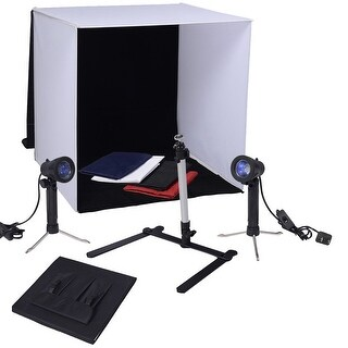 Costway 24'' Photo Studio Portable Table Top Photography Lighting Tent Kit w/4 Backdrops - as pic