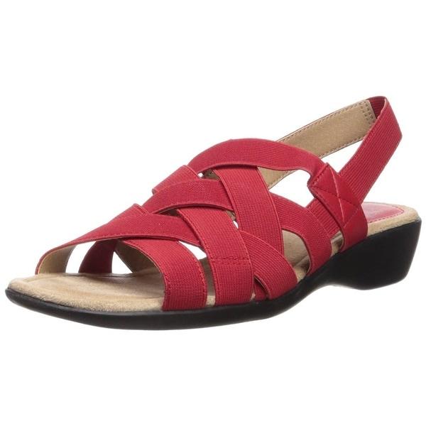 LifeStride Womens Trip Fabric Open Toe Casual Slingback Sandals