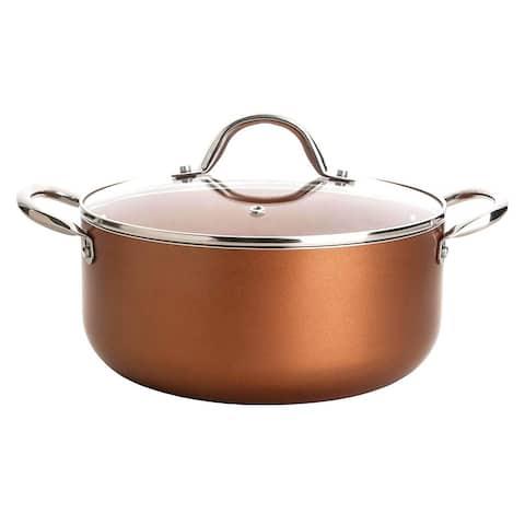 Culinary Edge CE2305 Copper Cookware Nonstick Ceramic-Infused 5-Qt. Dutch Oven