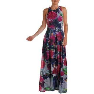 Phoebe Womens Silk Blend Floral Print Maxi Dress