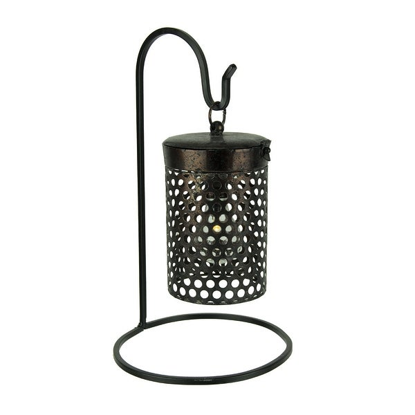 Black Metal Cage Hanging LED Accent Light with Stand - 16 X 9.25 X 9.25 inches