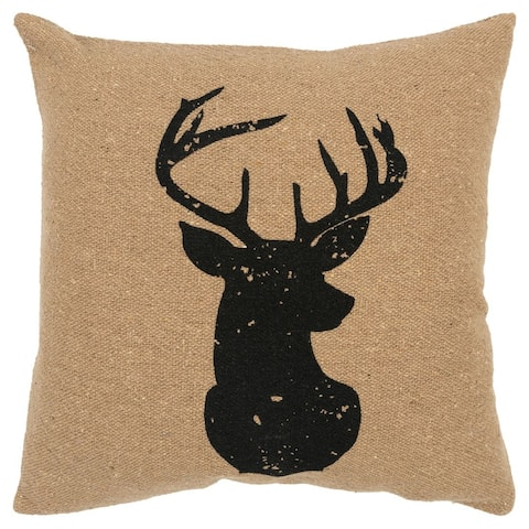 The Gray Barn Vines East Black Deer Filled Throw Pillow