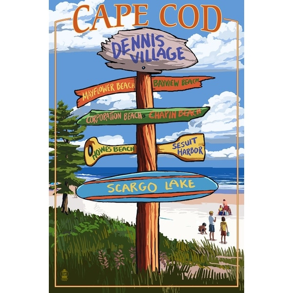 Dennis Village Cape Cod, MA Dest Sign - LP Artwork (Art Print - Multiple Sizes)