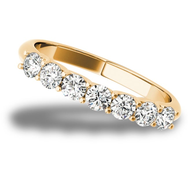 Lucid Styles 14K Gold 0.21 CT Round Cut Prong Set Classic Diamond Wedding Ring (Rose - 7.75)