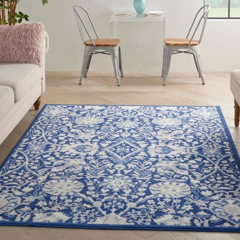 Nourison Whimsicle Modern Persian Floral Navy Ivory Area Rug