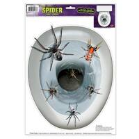 Club Pack of 12 Spider Toilet Topper Peel 'N Place Halloween Decorations - White