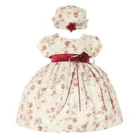 Baby Girls Burgundy Jacquard Floral Printed Satin Sash Easter Dress 6-24M